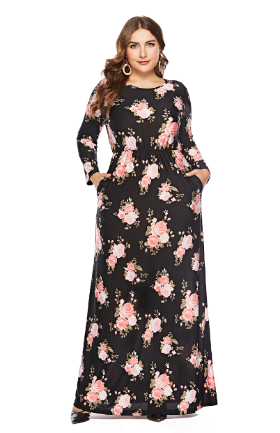 a69ee38dfe3 US  11.9 - Plus Size Long Sleeve Floral Maxi Dress - www.global ...