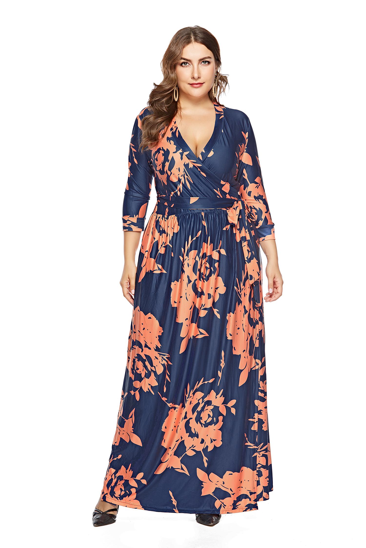 Plus Size Long Sleeve Floral Wrap Maxi Dress