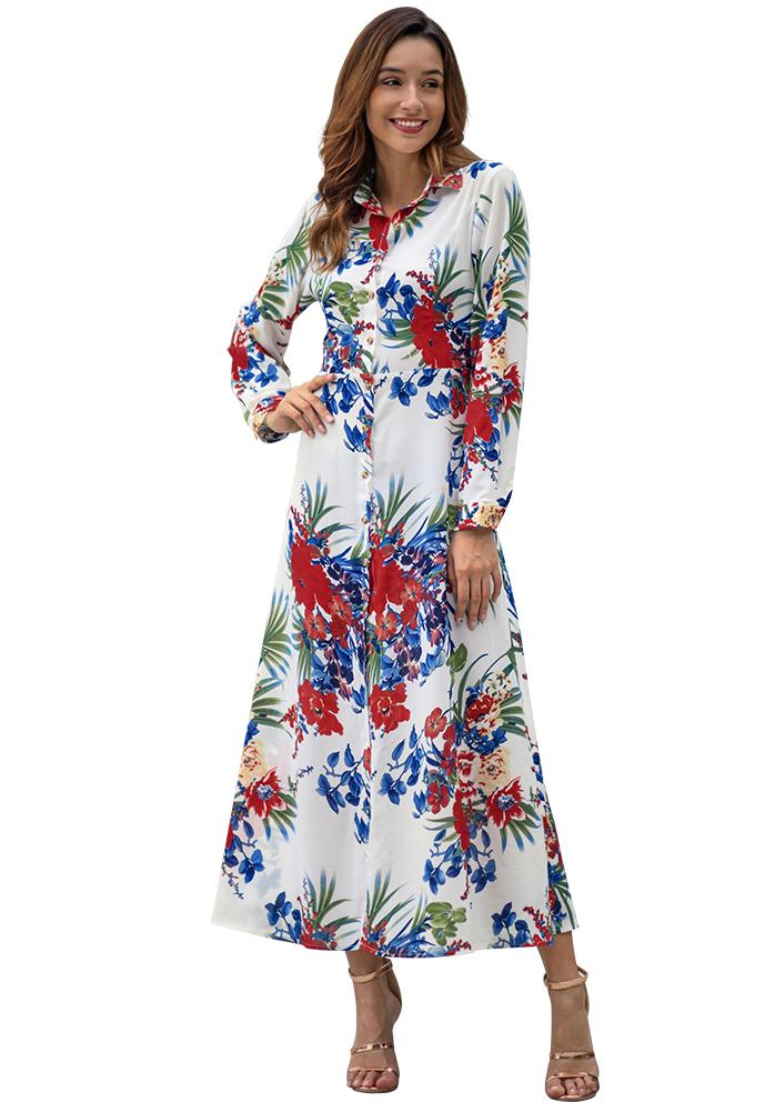 4af787789b0c US$ 10.43 - Long Sleeve Floral Maxi Dress - www.global-lover.com