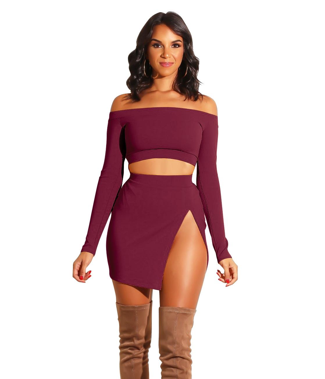 d21635d88b73cd US$ 5.96 - Plain Color Off Shoulder Crop Top and High Cut Skirt ...