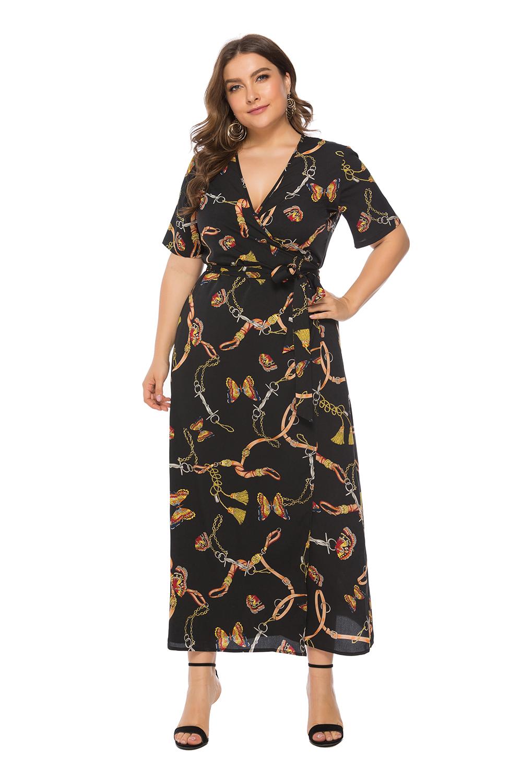 Plus Size Short Sleeve Print Wrap Maxi Dress