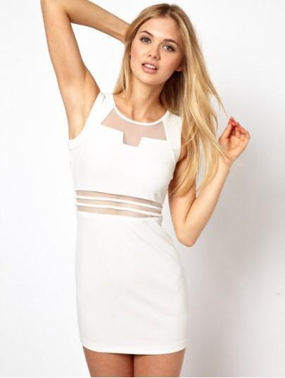 810d9c9b93526 US$ 3.62 - Sleeveless White Mesh Mini Dress - www.global-lover.com