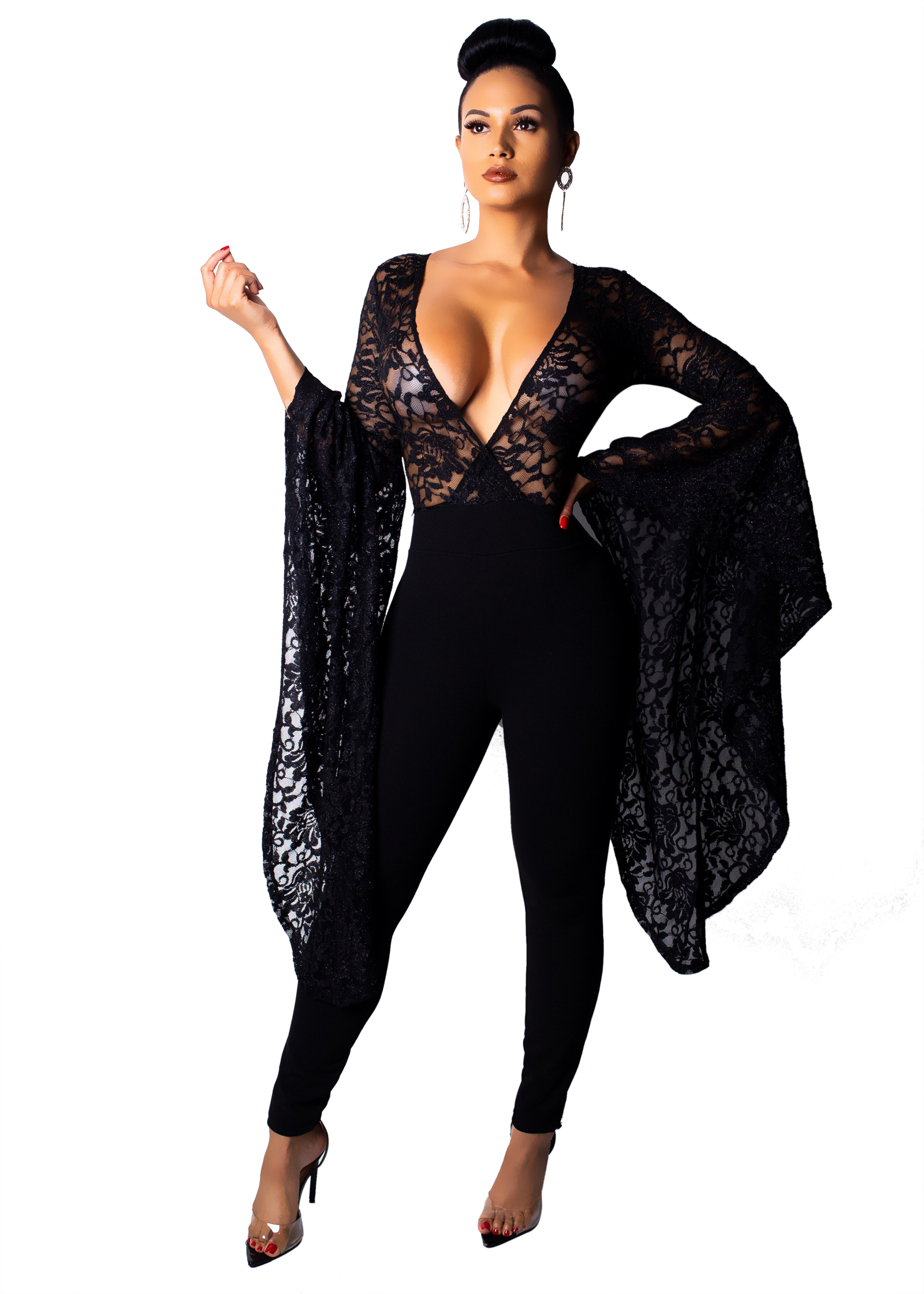 cee17e6bae22 US  10.43 - Lace Upper Deep-V Jumpsuit with Wide Sleeves - www ...