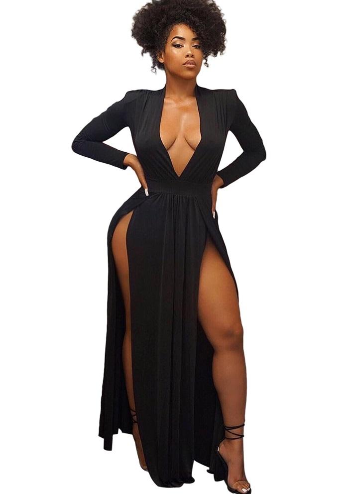 411feb4e65d9 US$ 8.73 - High Cut Black Long Sleeve Deep-V Long Dress - www.global -lover.com