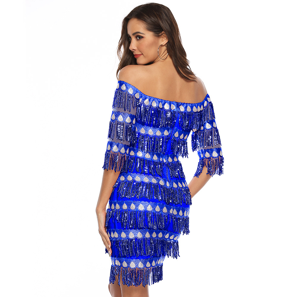 68f905302ae19 US$ 15.54 - Fringe Sequins Off Shoulder Party Dress - m.global-lover.com