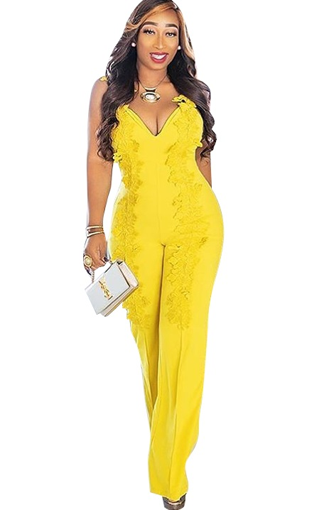 75aa8e667ff US  9.58 - Yellow Lace Straps Elegant Jumpsuit - www.global-lover.com