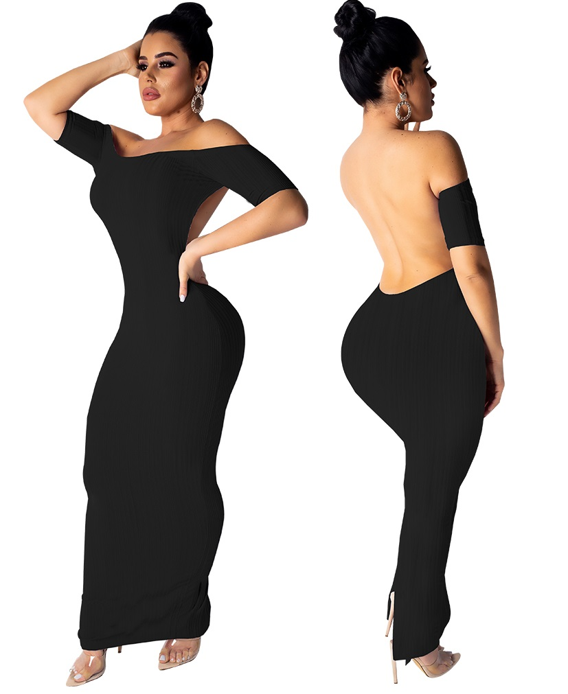 Backless Off Shoulder Dress