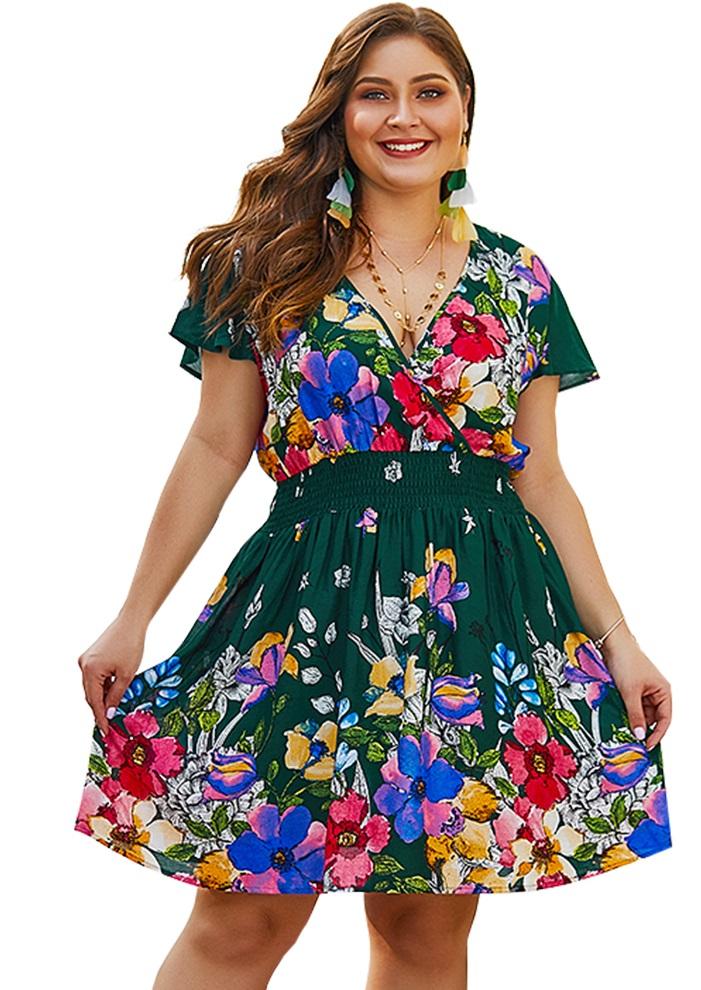 Grande Envuelto Talla Vestido De Floral sdhQCBtxr