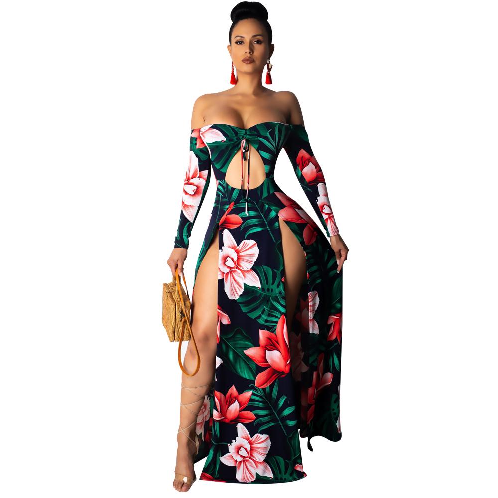 84f735194cd5 US$ 10.01 - High Cut Floral Strapless Long Dress - www.global-lover.com
