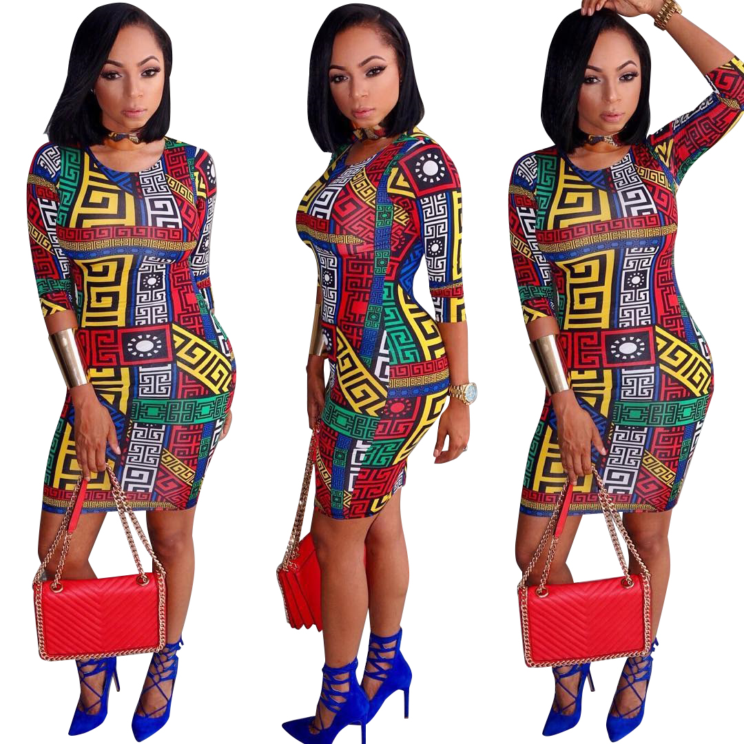 802c947c203 US  5.96 - African Print Bodycon Dress with Half Sleeves - www.global -lover.com