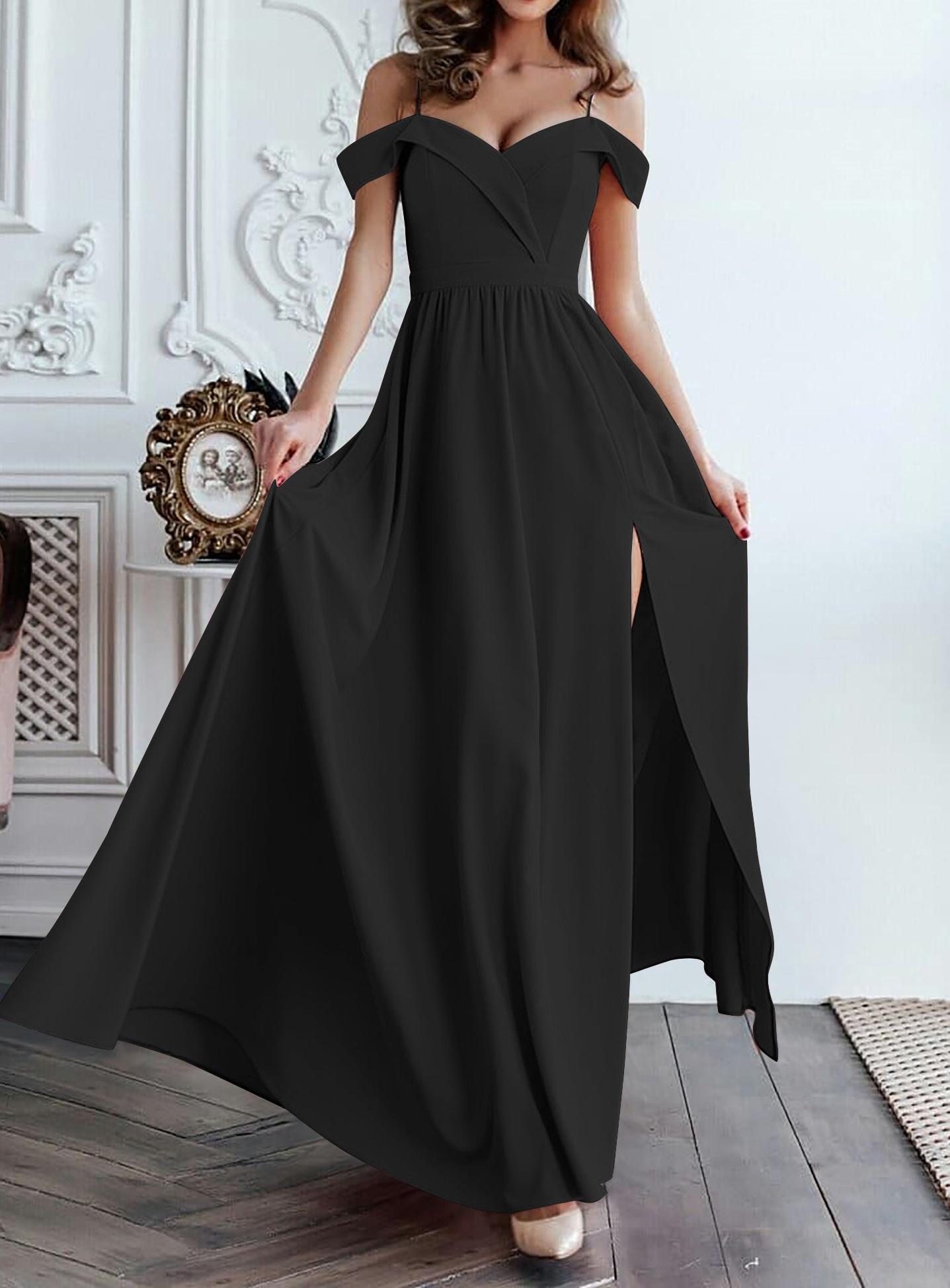 468374847e US$ 10.01 - Plain Color Off Shoulder Maxi Dress with Side Split -  www.global-lover.com