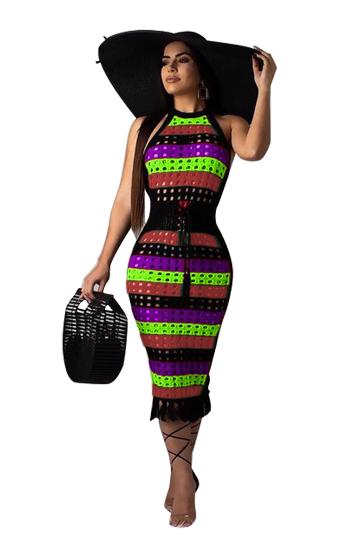 27a0bda1c25 US  9.63 - Wide Stripped Hollow Out Colorful Dress - www.global-lover.com