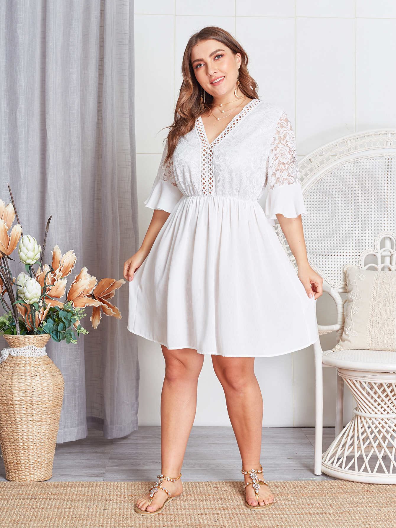 Plus Size White Lace Skater Dress