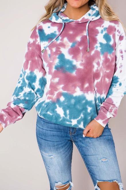 Kleurrijk sweatshirt met lange mouw en capuchon