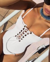 Women White Lace-up Strap One Piece Swimsuit 24237-2