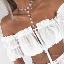 Stylish White Off Shoulder Ruffled Crop Top 24378-3