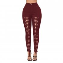 Lace Up Front Hollow Out Wine Red Twilled Skinny Pants 25027-4