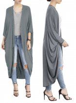 Plain Color Long Casual Loose Batwing Cardigans 25036-2