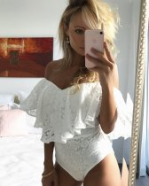 Pure White Floral Mesh Ruffle Off the Shoulder Bodysuit 25431-4