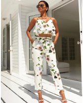 Floral White Flounced Vest Top and Slim Belt Pants 25455