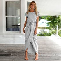 Pale Gray Short Sleeve Slit Casual Dress with Belt 25435-3