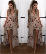 Summer Floral Strappy Maxi Romper Dress 25710-1