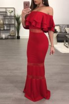 Off Shoulder Overlay Long Gown 26427-2