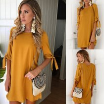 Pure Breif Short Dress with 1/2 Sleeves 26376-1
