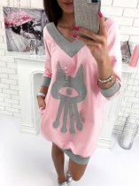 V-Neck Contrast Sweat Dress 26692-2