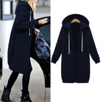 Plain Color Long Hoody Coat with Pockets 27116-8