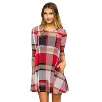 Check Pattern A-Line Shirt Dress with 1/2 Sleeves 26995-4