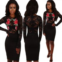 Black Lace Floral Party Dress 27446
