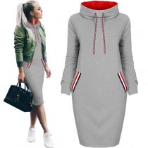 Long Blank Hoody Dress with Pockets 27259-2