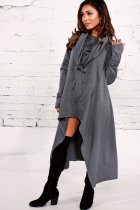 High Low Blank Hoody Dress with Pockets 27084-9