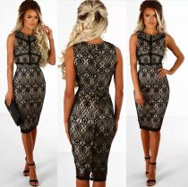 Black Lace Linned Slimming Dress 27310