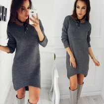 Dark Gray Irregular Sweater Dress27539