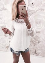 Pure White Chiffon Top with Detailed Hollow-Out