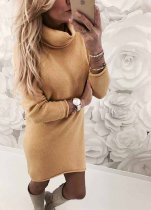 Turndown Collar Short Sweater Dress