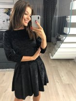 Pure Velvet Skater Dress with 3/4 Sleeves