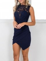 Blue Lace Chic Dress with Wrapped Hem