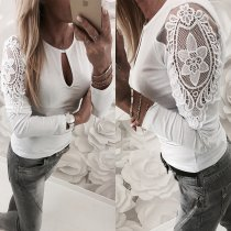 White Keyhole Basic Top with Crochet Sleeves