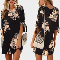 1/2 Sleeves Flower Mini Dress