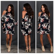 Cut-Out Shoulder Flower Short Dress