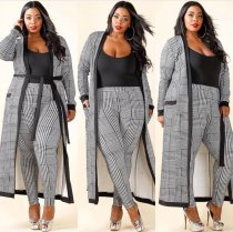 Plus Size Checks Pants and Matching Coat