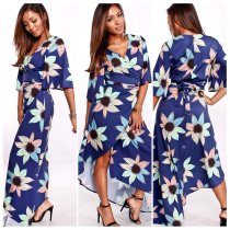 Floral Blue Long Wrapped Dress