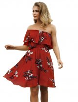 Off Shoulder Short Flower Dress