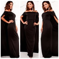 Off Shoulder Black Church Dress with Long Overlay