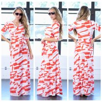 Block Color Wrapped Long Maxi Dress