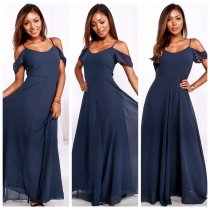 Straps Blue Long Chiffon Dress