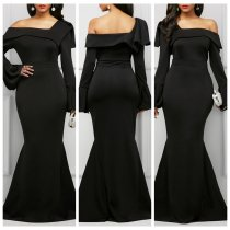 One Shoulder Black Long Gown